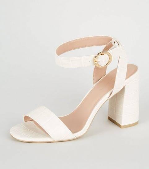 Nouvelles chaussures NEW LOOK Chaussures en suédine rose à talons compensés en liège et liens à nouer BEIGE