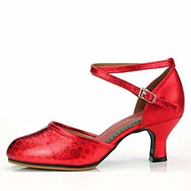 ShangYi Chaussures de danse latine Femme Adulte Chaussures à talons hauts Chaussures latines à talons souples Chaussures à semelle souple hauteur 7cm rouge