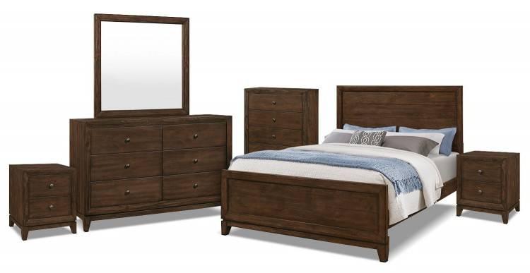 Chambre à coucher avec une planche de bois à caissons murs et plafond