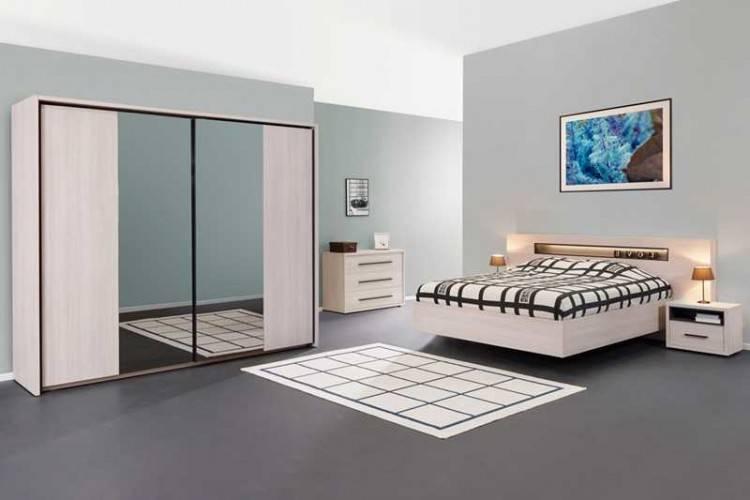 Chambre à coucher blanchie greta belgique armoire porte miroir coulissante vente en ligne sur L'