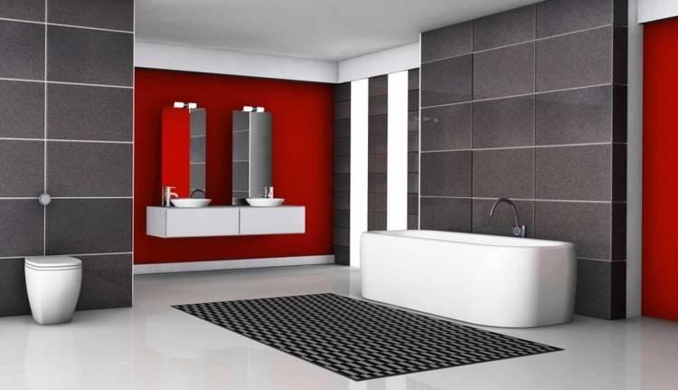 Salle Bains Moderne Paroi Verre Mosaique Noire Vasque Ovale Blanc De Conception D Id Es G
