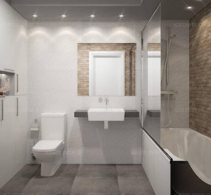 Salle De Bain Moderne Grise: Beau salle de bain moderne grise sur  carrelage pour salle