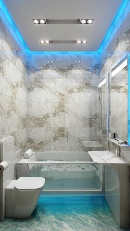 de bain moderne / salle de bain noire et blanche / salle de bai petite et fonctionnelle