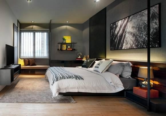 La chambre à coucher jaune en 30 exemples : Murs Gris Meubles Blanc Salle  Coucher Moderne