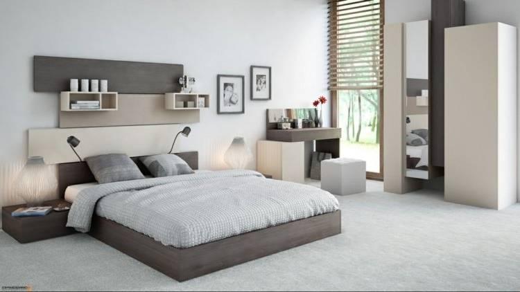 Chambre à coucher moderne lit + dressing + commode