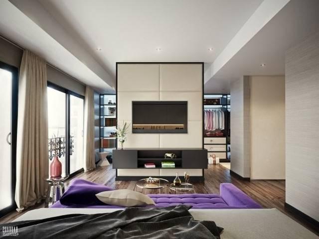L'armoire dressing dans la chambre à coucher moderne