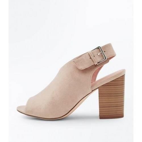 Ventes exclusives NEW LOOK Ballerine en suédine noire Wide Fit à talons bloc et bride sur la cheville Chaussures