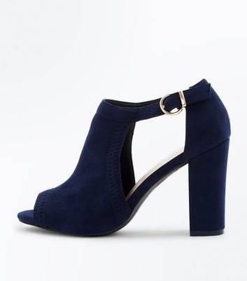 Achetez maintenant Femme chaussures Darling Ballerines à talon en cuir suédé bleu marine Ann Tuil 1352781