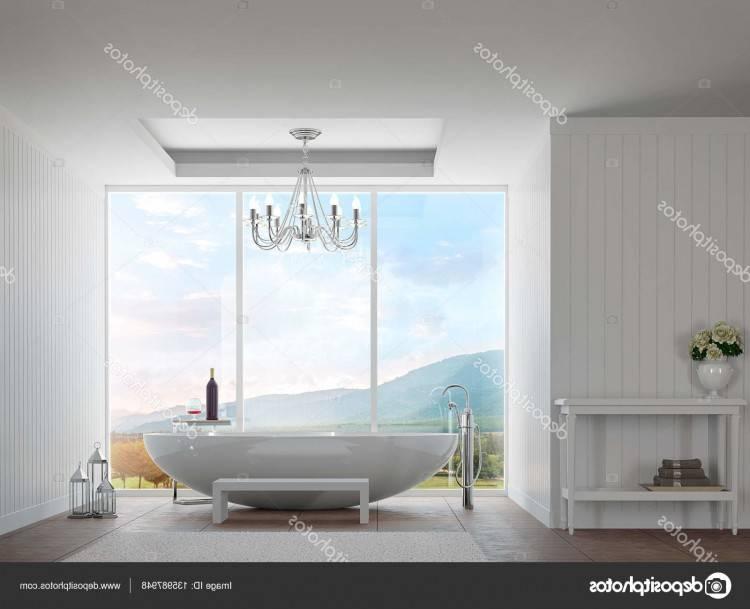 Blanc salle de bains moderne avec vue sur la montagne image de rendu 3d