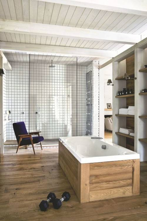 Salle De Bain Avec Sauna , Carrelage Salle De Bain Imitation Bois – 34 Idées Modernes