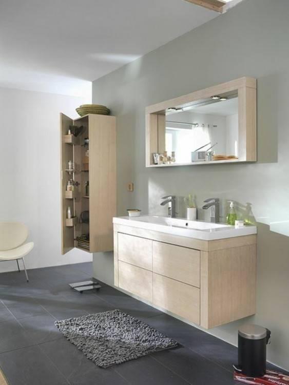 Salle de bain moderne sol gris - Accessoire salle de bain gris ...
