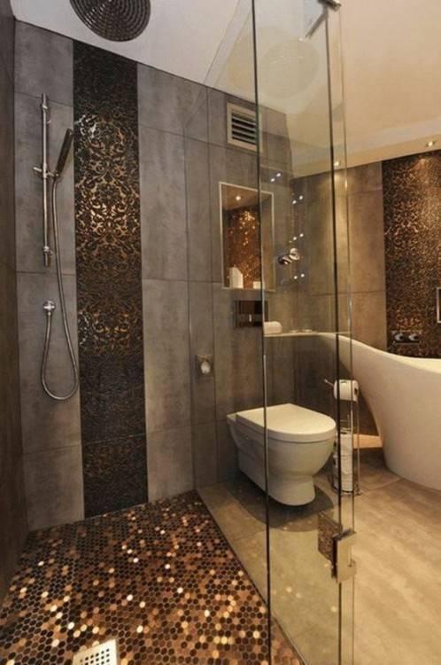 salle de bain marron beige