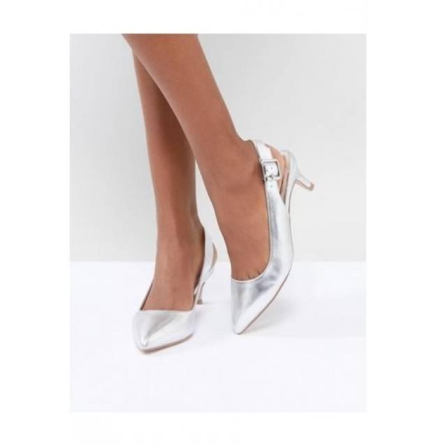 Chaussures à talons plateformes argentées à bouts ouverts et brides de cheville