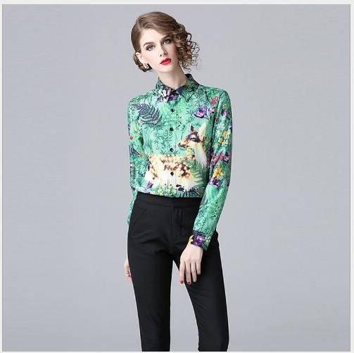 Tournent Chemise Vers Femme Longues Blouses Fit Casual Slim Bas Green Manches 2019 Printemps Le Mode