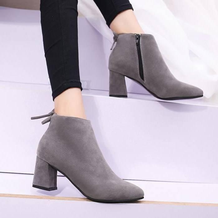 Boutique Pas chere New Look Bottines En Suédine Avec Lacets Et Talons Carrés Femme Vert Chaussures