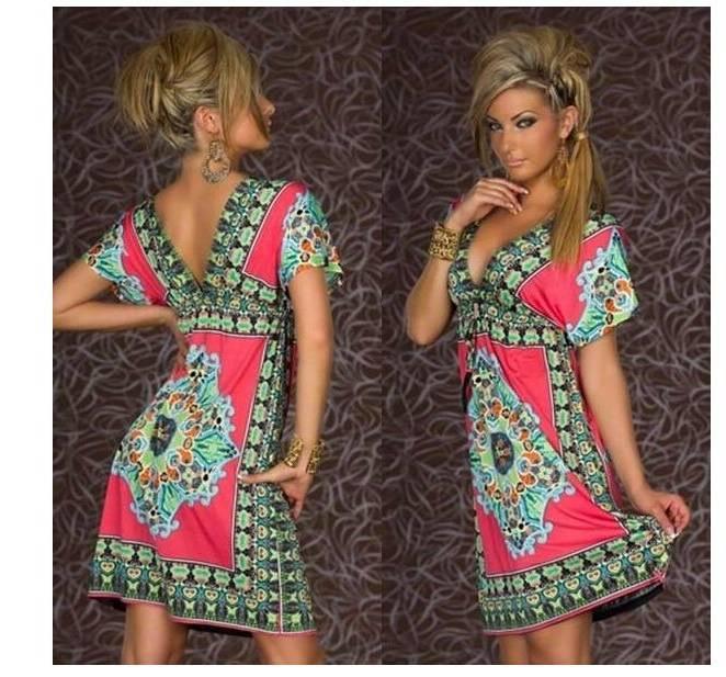 Acheter Gros TFGS Mode Rétro Années 1960 Des Années 1970 Vintage Paisley  Print V Cou Hippie Bohemian Summer Dress Femmes Robe De Plage De $24