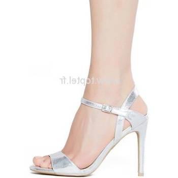 Soirée noire chaussures à talons à lanières cristaux et cristaux lanières  argentés amovibles et noeud en
