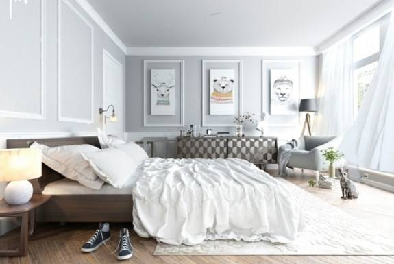 Chambre à coucher moderne dans des couleurs pastel