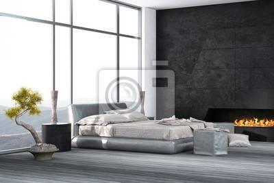 Loft de luxe, chambre à coucher avec lit à baldaquin