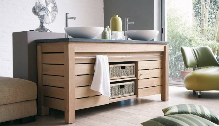 Meuble salle de bains bois gris double vasque Lambesc