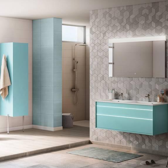 modèle décoration salle de bain en bleu
