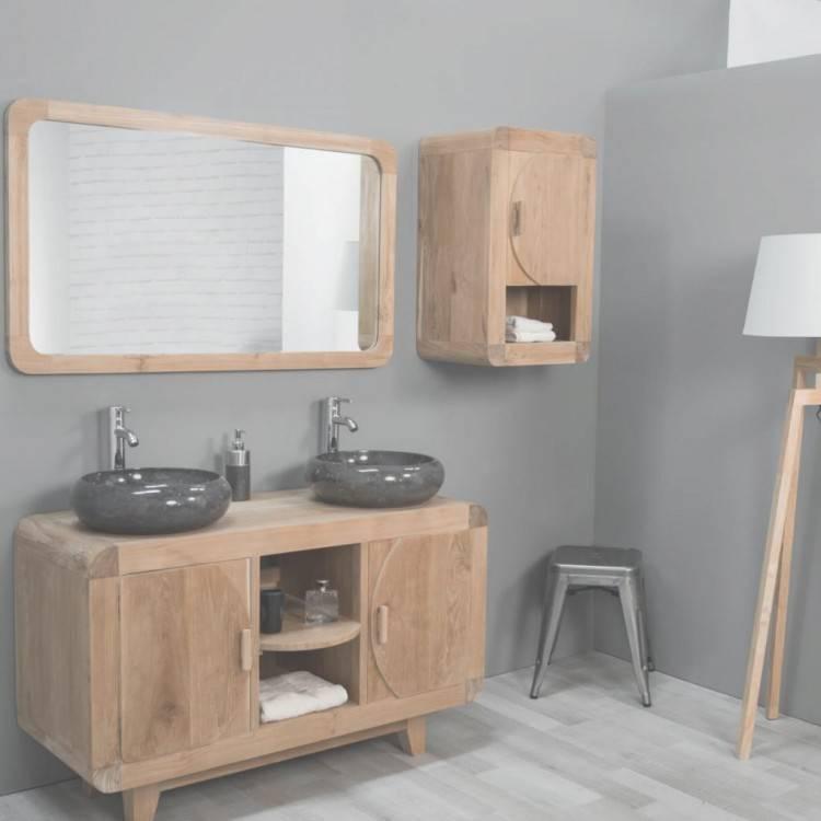 Grand meuble salle de bain en teck à poser Sense par la compagnie Idea Group