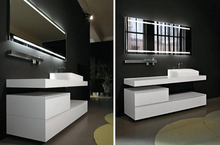 Pose de miroir de salle de bain moderne