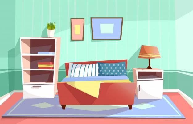 Intérieur de la chambre à coucher dans le style de dessin animé