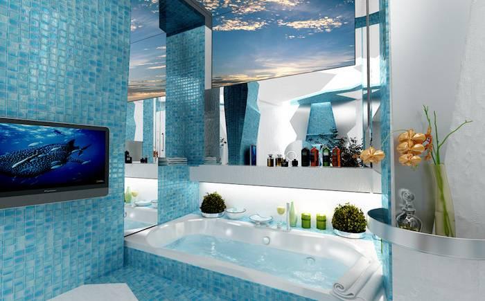 Une salle de bains moderne avec jacuzzi