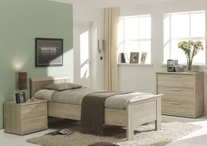Laura noir et dore, chambre a coucher complete, lit, armoire, commode,  chevets, miroir