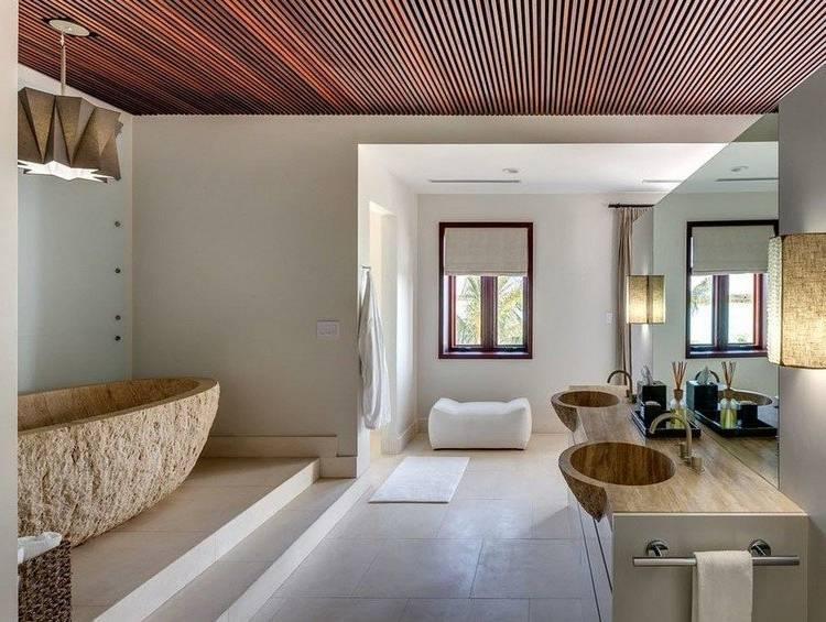salle de bain en pierre naturelle cabine de douche baignoire cuivre La salle  de bain en pierre naturelle en 55 idées modernes