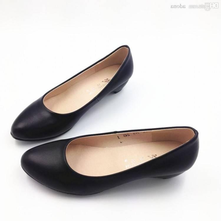 Acheter Femmes Chaussures À Talons Bas Chaussures En Cuir Véritable Travail Point Chaussure Orteil Pompes Noires Pour Femme De $25