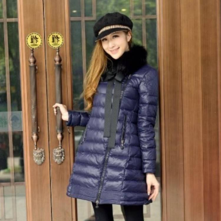 Acheter Hiver 2018 Parka Mode Femme Manteau Encolure Avec Nœud Col De  Fourrure Chaude Jupe Vers Le Bas Veste Manteau Femme Vêtements Pourpre De  $300