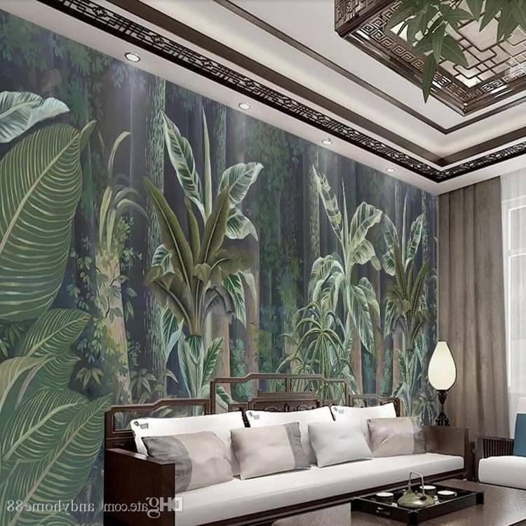 Acheter Asie Du Sud Est Jungle Tropicale 3d Papier Peint Vintage Dessinés À La Main Sans Soudure Murale TV Chambre À Coucher Thème Chambre Hôtel Fond Mur De