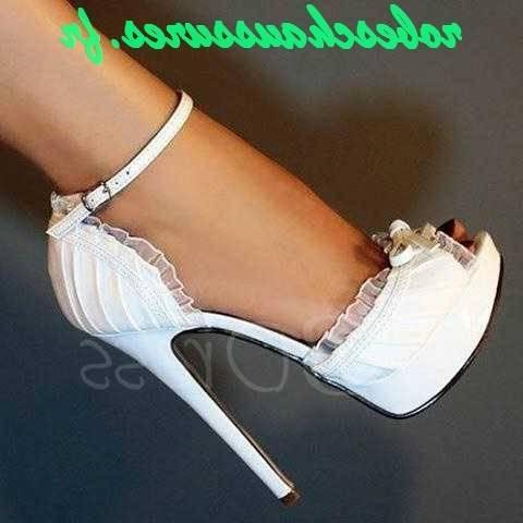 Chaussures à talons Rétro Chaussures noires en cuir plateforme avec talons à plateforme cuir épais et brides de cheville Noir Blanc 325320 : chaussures