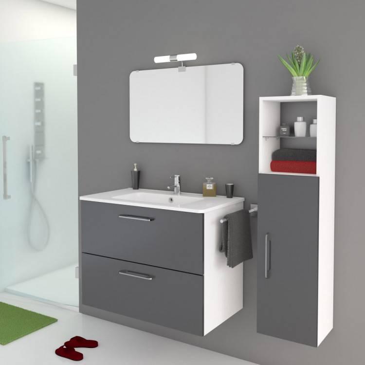 meuble de salle bain noir brillant petit gifi moderne dis800an leroy merlin