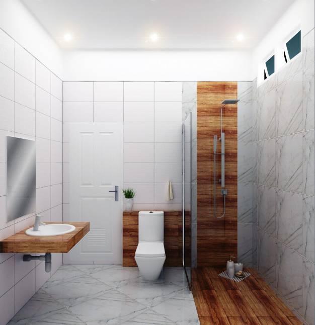 Salle de bain double vasque avec deux lampes de table et étagères