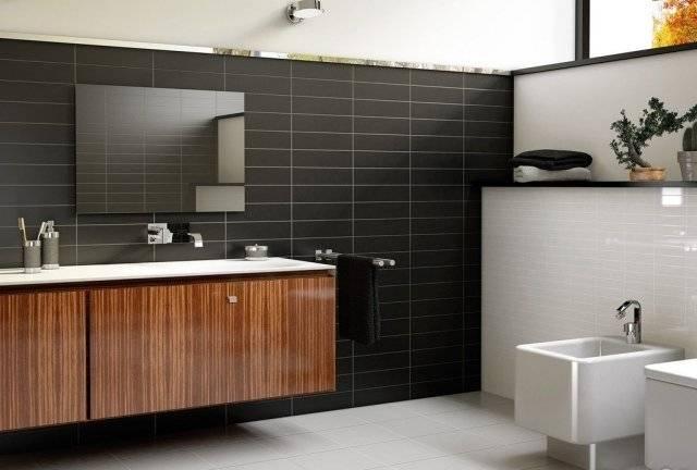 petite salle de bain moderne carrelage imitation pierre noire meuble vasque bois Petite salle de bain moderne en 70 idées exclusives témoignant de sa