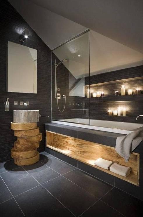 salle de bain noire très moderne meuble en bois 25 idées chics de salle de bain noire pour un décor esthétique