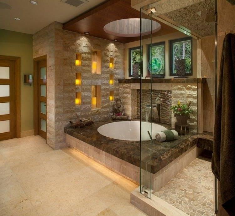 salle de bain en pierre naturelle douche très moderne La salle de bain en pierre  naturelle en 55 idées modernes