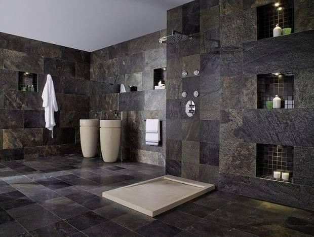 35 Salles De Bains Modernes Avec Accessoires Shopping Salle Bain Moderne  Gris Anthracite Meuble Castorama Pour
