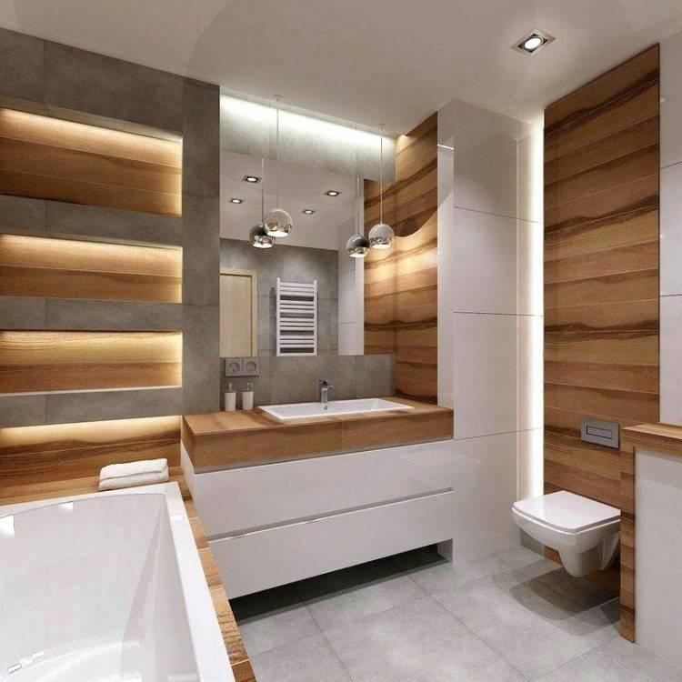 Salle de bain moderne en bois très nature