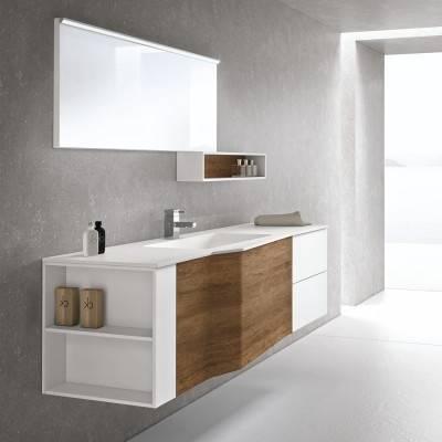 Ces #meubles modernes pour salle de bains, de finition blanche mat haut de gamme se composent d'une double #vasque en Dolomite et d'un large meuble