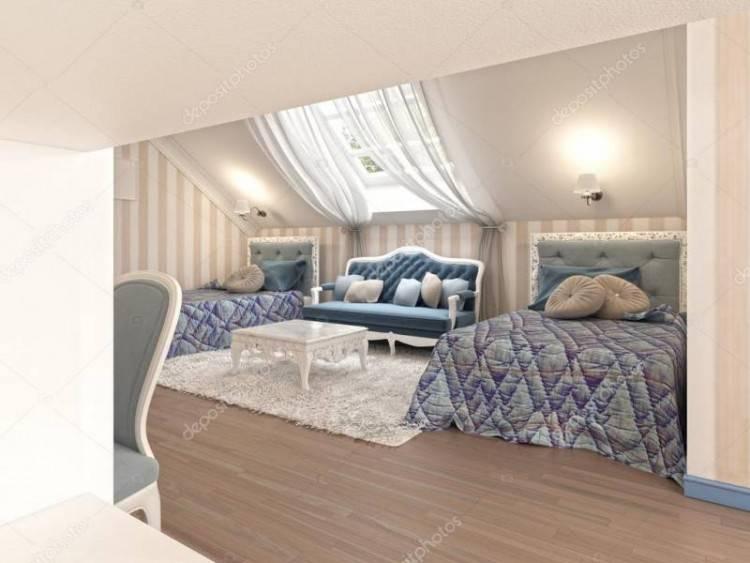 Chambre à coucher de l'enfant de luxe pour deux enfants avec deux lits  jumeaux en couleur bleu et le lait