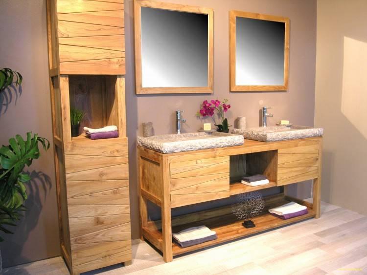 Plan vasque en rondins de bois, niche  encastrée