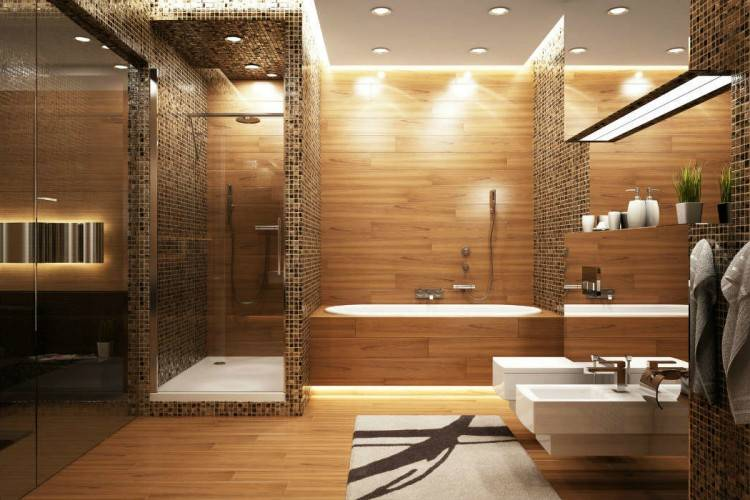 Salle de bain moderne avec une baignoire