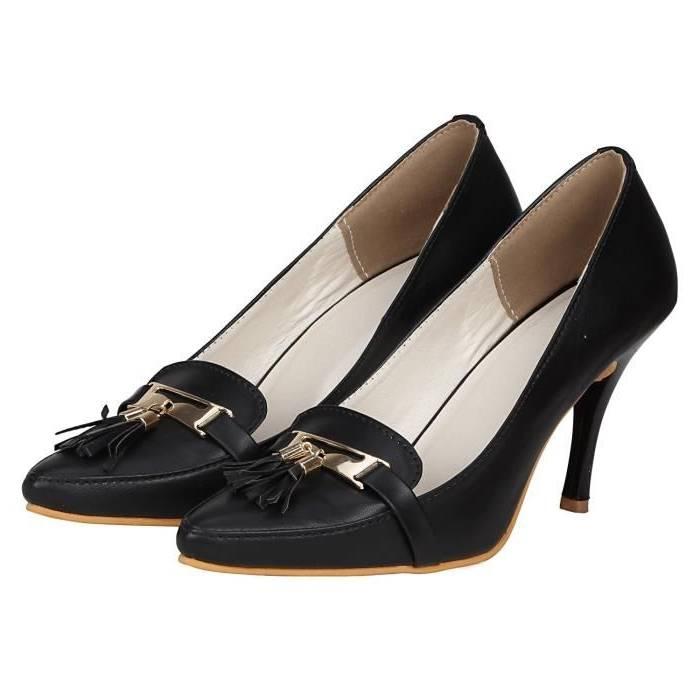 MHSXN Mesdames Loisirs Formelles en Cuir Chaussures de Travail Rondes Chaussures à Talons Hauts Femmes Rondes Travail Chaussures