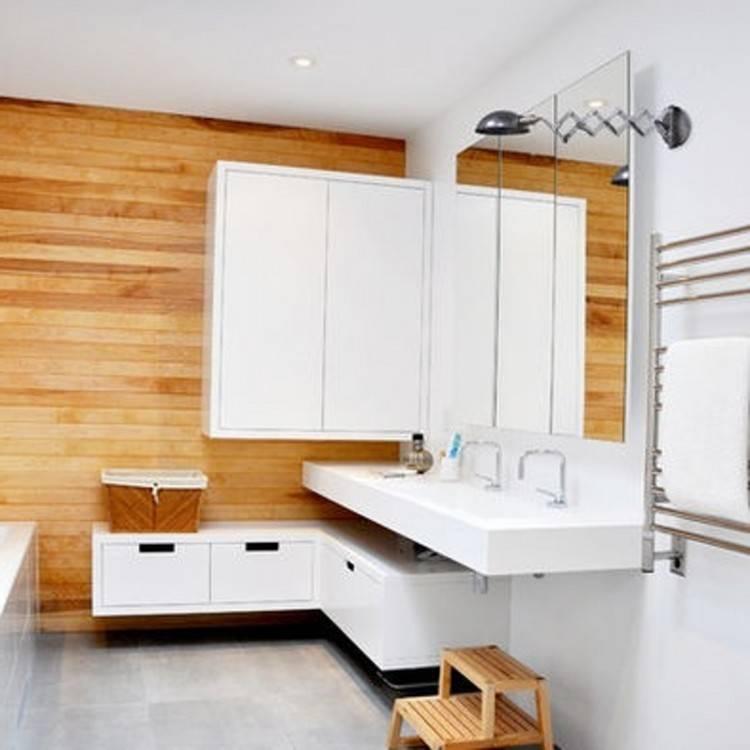 petite salle de bain moderne blanche style scandinave tapis deocratif deco bois Petite salle de bain moderne en 70 idées exclusives témoignant de sa