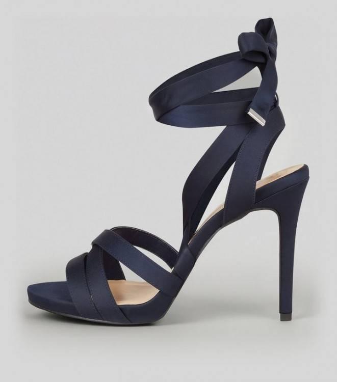Chaussures découvertes à talons, bleu marine